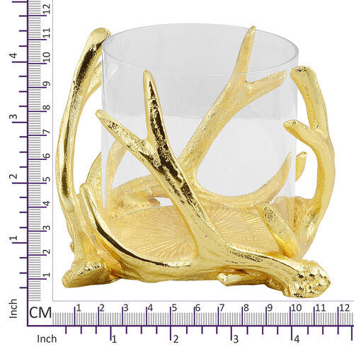Home Decor - Designer Insipired - Antique Antler Candle Pillar Holder in Gold Tone