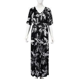 Flower and Leaf Pattern V-neck Summer Dress (Size 60x125 Cm) - Black and White