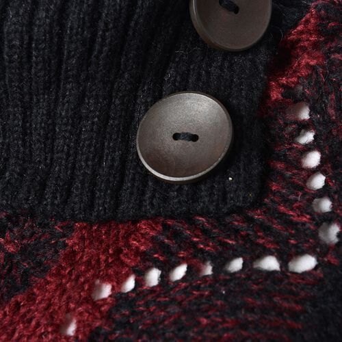 Collar with Two Decorative Button Wave Pattern Poncho with Tassels (Size 85x60 Cm) Colour Red and Black