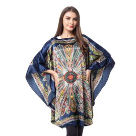 Navy Blue Colour Poncho with Floral Pattern (Size 113x94 Cm)