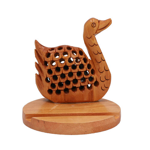 New Arrival- Hand Carved Wooden Mobile Phone Holder- Swan