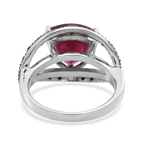 African Ruby (Trl 6.40 Ct), Boi Ploi Black Spinel Ring in Rhodium Plated Sterling Silver 6.500 Ct.