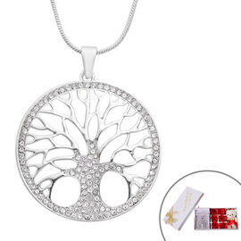 Monster Deal- White Austrian Crystal Tree-of-Life Pendant with Chain in Silver Tone