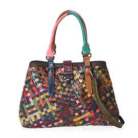 100% Genuine Leather Weave Pattern Tote Bag with Detachable Shoulder Strap (Size 37x12x27 Cm) - Mult