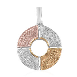 Designer Inspired- Diamond (Rnd) Pendant in Platinum, Yellow and Rose Gold Overlay Sterling Silver