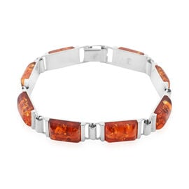 18 Ct Cherry Baltic Amber Bracelet in Silver 22 Grams 7.75 Inch