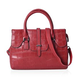 Limited Available - 100% Genuine Leather Croc Embossed Tote Bag (Size 31x11x23 Cm) with Detachable S