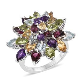 Amethyst (Pear), Hebei Peridot and Multi Gemstone Flower Ring in Platinum Overlay Sterling Silver 10