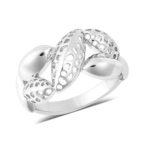 Leaf Collection - RACHEL GALLEY Rhodium Overlay Sterling Silver Lattice Leaf Ring