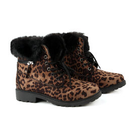 Leopard Print Women Lace Up Ankle Boots (Size 5) - Brown