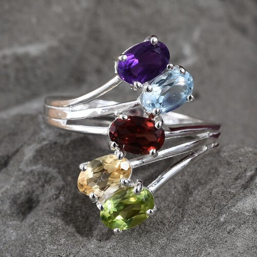 Sky Blue Topaz (Ovl), Mozambique Garnet, Hebei Peridot, Amethyst and Citrine Bypass Ring in Sterling Silver 2.50 Ct.