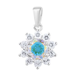 Mercury Mystic Coated Topaz (Rnd), Natural Cambodian Zircon Pendant in Sterling Silver 2.160 Ct.