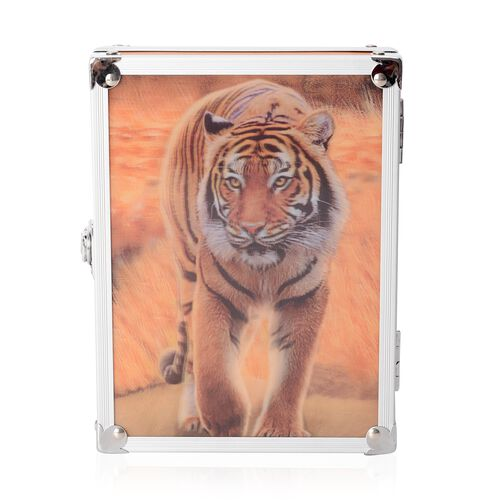Light Brown Colour 3D Tiger Painting Jewellery Box (Size 20x15x6.2 Cm)