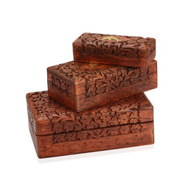 Set of 3 - Handcrafted Dolphin Nested Boxes In Mango Wood With Rosewood Finish (Small Size 5.3x2.25x1.25 Cm), (Medium Size 6.7x3.5x2) and (Large 8x5x2.75 Cm)
