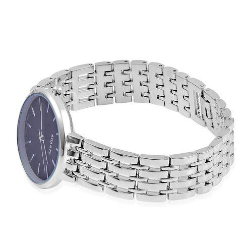 STRADA Urban Style Black Finished Silver Tone Metal Strap Watch