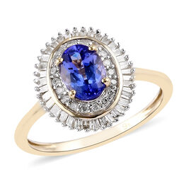 9K Yellow Gold AAA Tanzanite and Diamond Ring 1.10  Ct.
