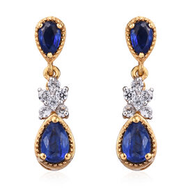 Kashmir Blue Kyanite (Pear), Natural Cambodian Zircon Earrings (with Push Back) in 14K Gold Overlay
