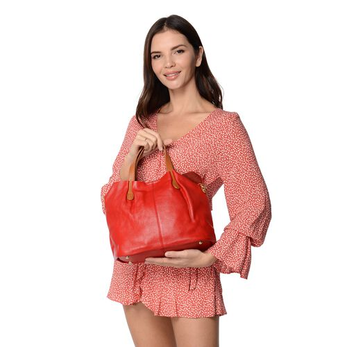 100% Genuine Leather Litchi Pattern Tote Bag with Detachable Shoulder Strap and Magnetic Closure (31x25x14 Cm) - Red