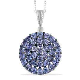 Tanzanite (Rnd) Cluster Pendant With Chain (Size 20) and Platinum Overlay Sterling Silver 3.540 Ct, Silver wt 5.66 Gms.