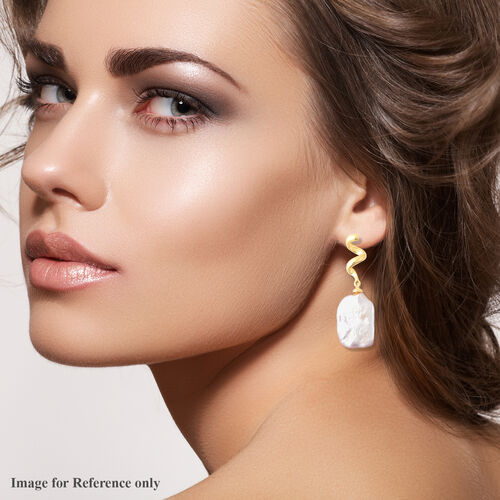 Baroque White Pearl Earrings (with Push Back) in Yellow Gold Overlay Sterling Silver