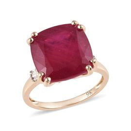 11.40 Ct AAA African Ruby and Diamond Solitaire Desing Ring in 9K Yellow Gold 2.25 Grams
