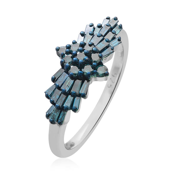 SGL Certified Blue Diamond (I2) (BGT) Ballerina Ring in Blue and Platinum Overlay Sterling Silver 1.00 Ct.