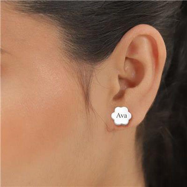 Personalised Engravable Flower Stud Earrings in Silver