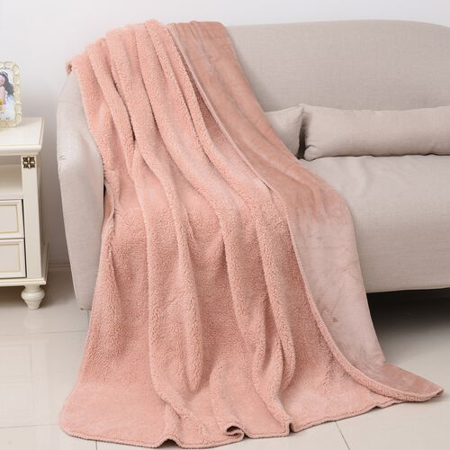 High-Quality Flannel Sherpa Bonded Blanket (Size 200x150 Cm) Dusty Pink Colour