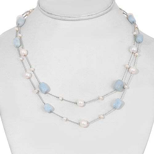 GP Espirito Santo Aquamarine (41.40 Ct.), Freshwater Pearl and Blue Sapphire Necklace (Size 18) in Platinum Overlay Sterling Silver 90.930 Ct.