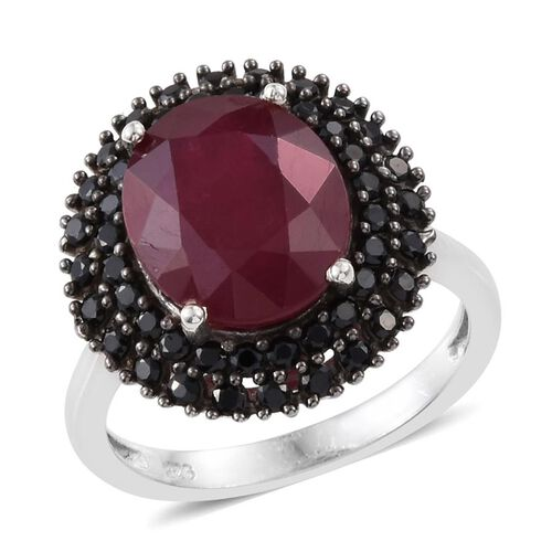 7.50 Ct African Ruby and Boi Ploi Black Spinel Halo Ring in Platinum Plated Sterling Silver