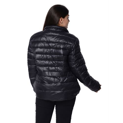 Solid Colour Women Short Puffer Jacket with Two Pockets (Size 60x68, XXL) - Black