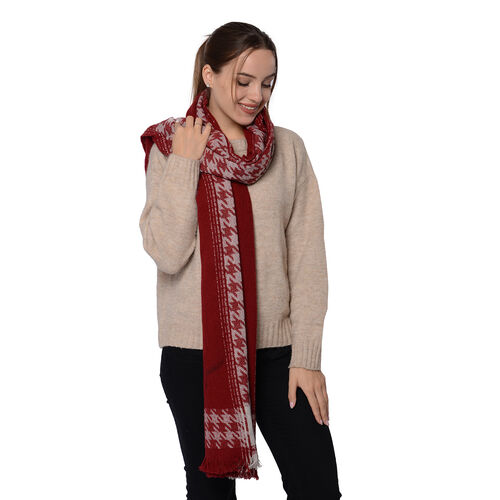 Close Out Deal LA MAREY Super Soft 100% Wool Shawl in Burgundy Houndstooth Pattern with Tassels (200x69+5cm)