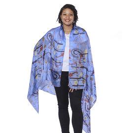 LA MAREY 100% Mulberry Silk Blue and Multicolour Periwinkle Print Scarf (180x110cm)