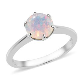 RHAPSODY 950 Platinum Ethiopian Welo Opal (Rnd 7 mm) Solitaire Ring 0.75 Ct.