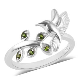Russian Diopside (Rnd) Bird and Leaf Bypass Ring in Platinum Overlay Sterling Silver