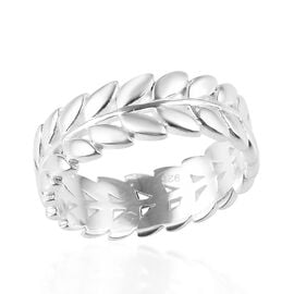 Designer Inspired- Sterling Silver Leaf Band Ring, Silver wt 3.41 Gms