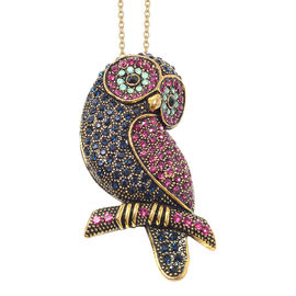 Multi Colour Austrian Crystal Owl Brooch or Pendant With Chain (Size 24) in Gold Plated