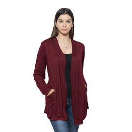 Wine Colour Push up Sleeve Cardigan with Pockets