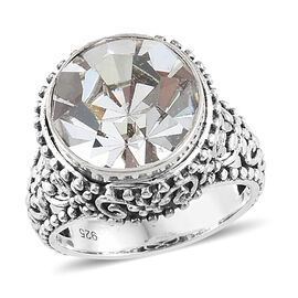 Hand Made Crystal from Swarovski - White Crystal (Rnd) Ring in Sterling Silver, Silver wt 5.83 Gms