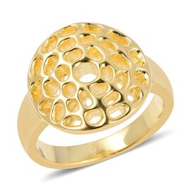 WEBEX- RACHEL GALLEY Yellow Gold Overlay Sterling Silver Enkai Sun Small Disc Ring, Silver wt 5.16 Gms.