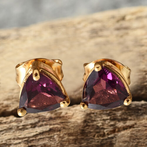 Purple Garnet (Trl) Stud Earrings (with Push Back) in 14K Gold Overlay Sterling Silver 1.500 Ct.