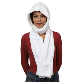 Winter Warm Soft Sherpa Hooded Scarf with Magnetic Button (Size Hood 27x30 Cm; Scarf 15x90 Cm) - Whi