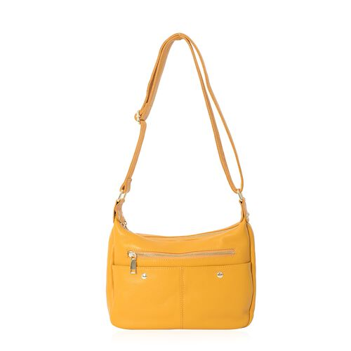Super Soft 100% Genuine Leather Yellow Colour Multi Pocket Crossbody Bag with Adjustable Strap (Size