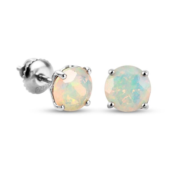 RHAPSODY 950 Platinum AAAA Ethiopian Welo Opal (Rnd) Earrings (with Screw Back) 1.59 Ct.