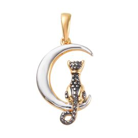 Platinum and Yellow Gold Overlay Sterling Silver Cat on Moon Pendant