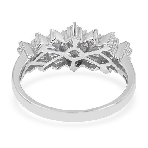 RHAPSODY 950 Platinum IGI Certified Diamond (Rnd and Bgt) (VS/F) Ballerina Ring 1.000  Ct, Platinum wt 6.90 Gms.