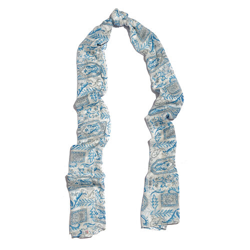 Blue and White Colour Scarf (Size 170x65 Cm)