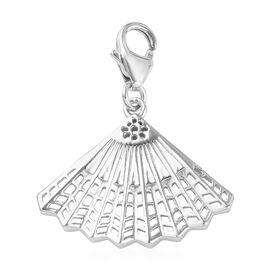 Platinum Overlay Sterling Silver Hand Fan Charm