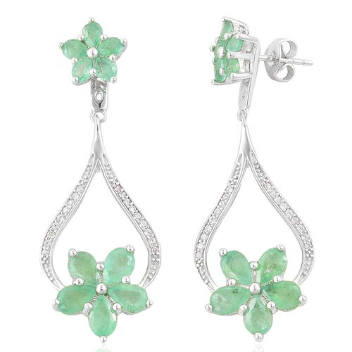 Kagem Zambian Emerald (Pear), White Zircon Earrings (with Push Back) in Platinum Overlay Sterling Silver 5.430 Ct.