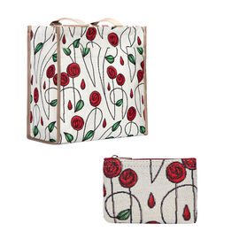Signare Tapestry - Mackintosh Simple Rose Shopping Bag with FREE Zip Coin Purse